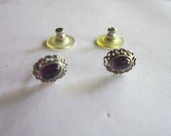 Vintage Sterling Silver & Amethyst Stone Post Stud Pierced Earrings