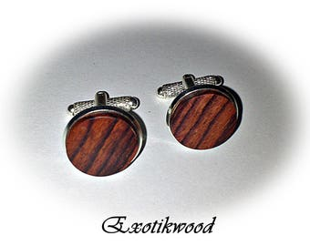 Purple wooden cuff links-Mozambique