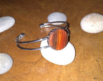 Bracelet adjustable Cocobolo wood cabochon
