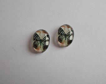 1 set of 2 Butterfly print glass cabochon