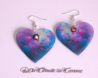 Galaxy, iridescent Pearl Heart Earrings