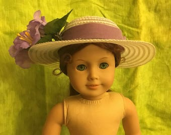 "Purple Flowered 18""doll Sun Hat"