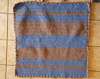 Crocheted Baby Blanket - Uneven Blue and Brown Stripes