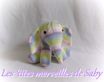 blanket/plush baby elephant Rainbow knit acrylic wool