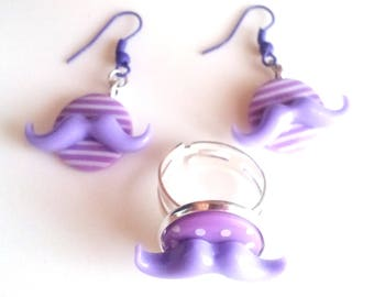 "Set ""Purple mustache"" earrings and ring, purple & white, mustache"