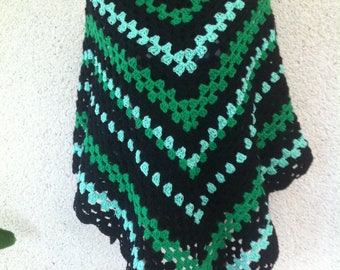 Large green and black acrylic crochet shawl