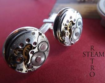 Steampunk wedding cuff links Steampunk Steampunk jewelry by Steamretro 16 mm cuff links