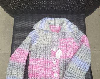 Baby cardigan in Aran wool 12 months