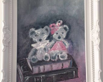 """""""Pooh Lilirose and books"""" small shabby chic decoration"""