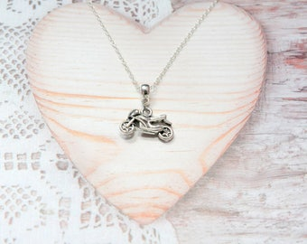 Motorcycle charm pendant chain necklace