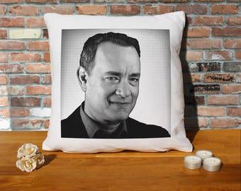 Tom Hanks Pillow Cushion - 16x16in - White