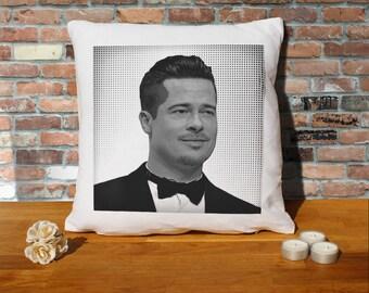 Brad Pitt Pillow Cushion - 16x16in - White