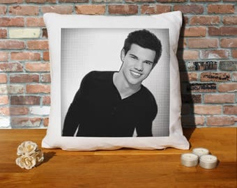 Taylor Lautner Pillow Cushion - 16x16in - White