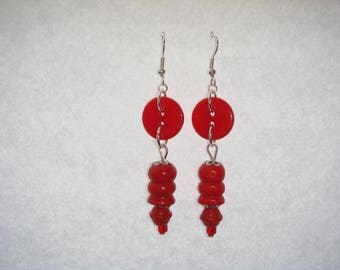 Red wooden beads earrings