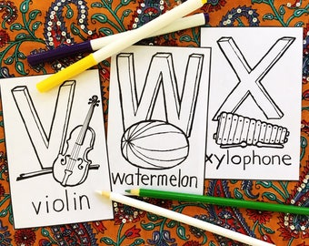 violin watermelon xylophone coloring page nursery decoration abc 4 x 6 memory keepsake gift baby shower