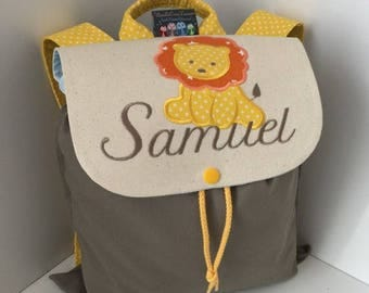 Backpack child school personalized (name, pattern) size 2/3 years lion pattern