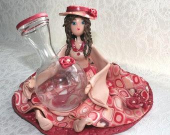 """Vase soliflore """"Coral Plaid"""""""