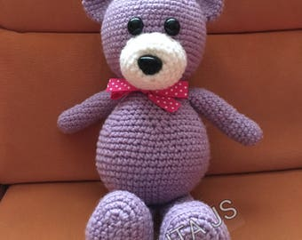 Toy plush teddy bear handmade crochet in acrylic wool and cotton