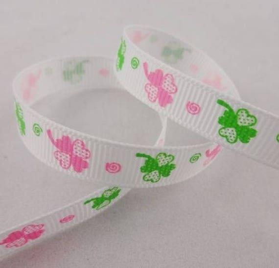 -Ribbon grosgrain white clover 4 sheets - 10 mm - 1 M