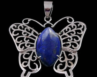 Silver plated Butterfly pendant - lapis lazuli