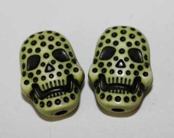 Skull double-sided, green, 15 * 20 mm, the pair