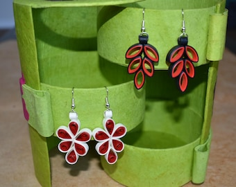 Red Quilled Paper Earrings