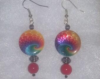 Hippie Tye Dye Earrings (Red)