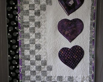 Patchwork 3 white and purple hearts