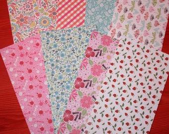 set of 9 floral rectangle sheets 30 x 15cm