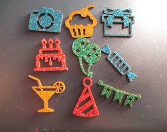 set of 9 craft glitter birthday party