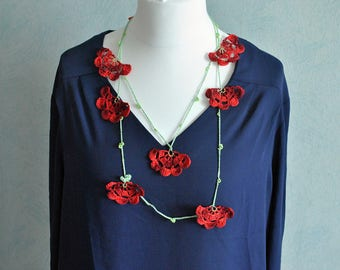 Necklace with red flowers and beads, cotton, cotton, textile necklace jewelry necklace