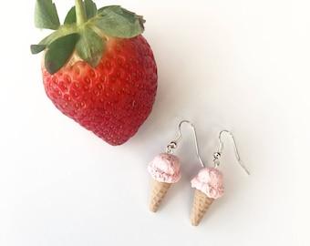 Waffle Cone Strawberry Ice Cream Polymer Clay Earrings