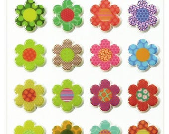 """Stickers Cooky embossed """"Flowers"""" x 24 - MAILDOR - Ref CY021"""