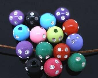 Mixed 20 beads acrylic rhinestone 8 mm