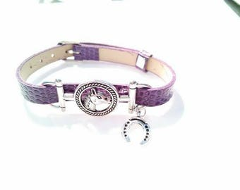 A very nice horse (Vegan) bracelet with lucky Horseshoe charm