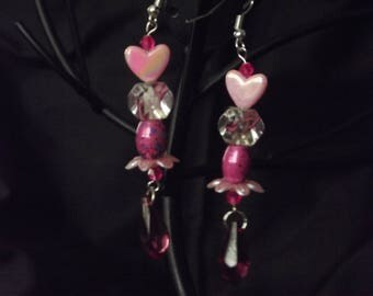 Long pink heart earrings