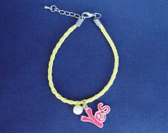 Yellow leatherette braided cord bracelet