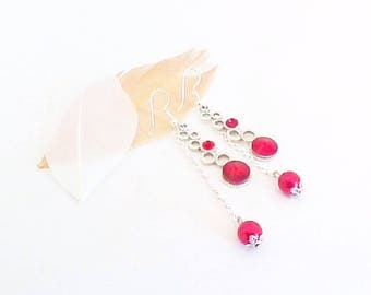Long red and bubbles of silver, rhinestone stud earring