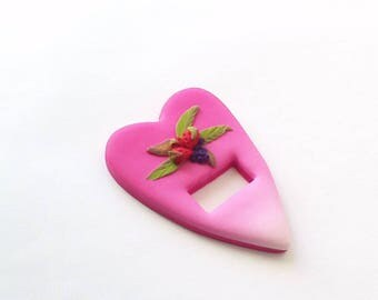 Tri-Fils, handcrafted wire guard, heart, made of polymer clay