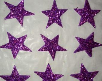 SET of 9 EMBELLISHMENTS foam star FLAKE STICKERS SCRAPBOOKING 33 X 33 mm purple