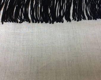 Black polyester fringe - 8 cm