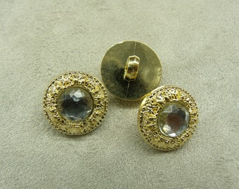Jewel rhinestone & acrylic shank button - gold