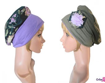"""REVERSIBLE beret """"Isabelle"""" & its removable fabric flower"""