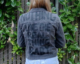 Nothing Like the Real Thing -- Distressed Denim Jacket in Black