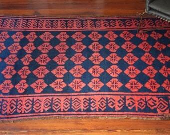 Antique Central Asian Rug: 4'9'' x 8'1'' vintage rug/antique rug/asian rug
