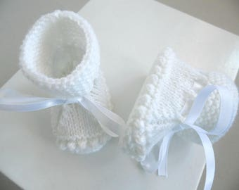Crans slippers 1 month white knit baby wool hand-made