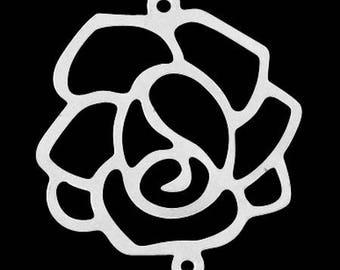 Set of 30 filigree rose connectors silver 35mm