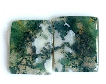 30% Discount Sale, Moss Agate Rectangle Cabochon, 19x15 MM, Natural Agate, Wt-23 Ct, Agate Matched Pair, Loose Gemstone,