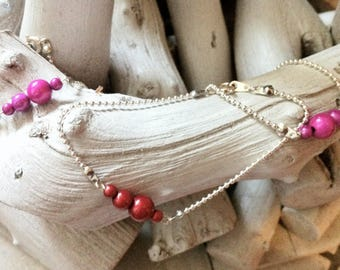 Caterpillar bracelet pink magic beads