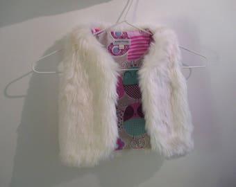 "vest 9-12 month sleeveless faux fur baby fabric ""butterflies"""